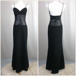 ABS Allen Schwartz Black Leather Evening Gown 8